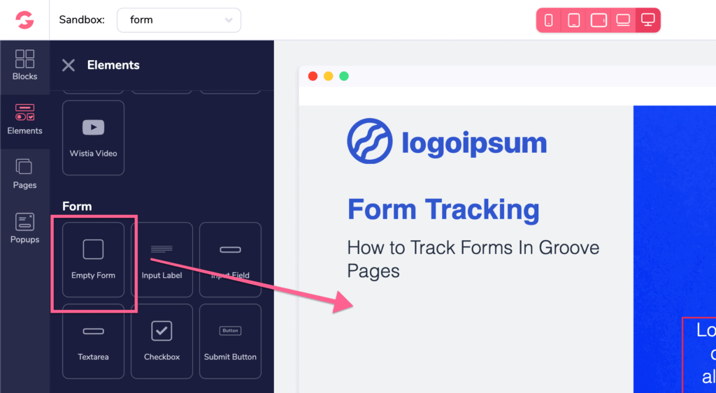 add a form element to your page